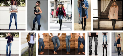 Body-fitted skinny jeans with knee-high boots for ladies