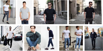 Jeans trousers with plain body-fitting T-shirts for men