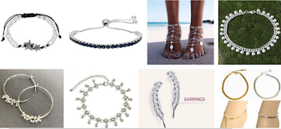 ankle bracelet earrings and necklaces