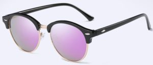 Fashion Vintage UV400 Outdoor Shades Women Mens Retro Round Polarized Sunglasses - purple