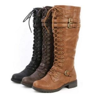 Knee High PU Leather Lace Up Buckle Fashion Riding Military Combat Boots