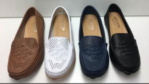 Leather loafer Auyi Flat Moccasin Ladies Travel Shoe