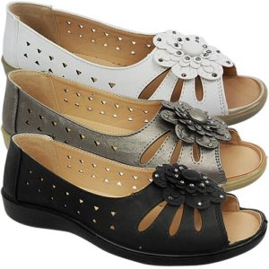 Low Wedge Peep Light Weight Soft Comfort Summer Sandals Shoes