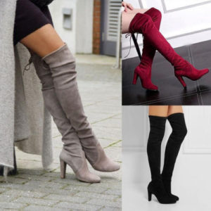Over The Knee Boots Suede High Heel Block Lace Thigh Shoes