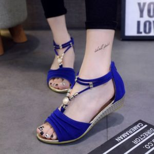 T-Strap Beach Shoes Beaded Flat Sandals Wedge Ankle Strap