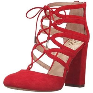 Vince Camuto Womens Shavona Red Dress Heels Shoes