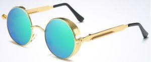 Vintage Polarized Steampunk Sunglasses Fashion Round Mirrored Retro - blue