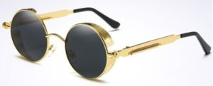 Vintage Polarized Steampunk Sunglasses Fashion Round Mirrored Retro golden-black