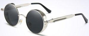 Vintage Polarized Steampunk Sunglasses Fashion Round Mirrored Retro -silver-black