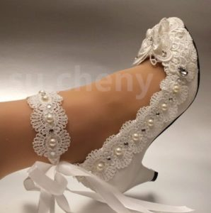 White ivory lace bow crystal pearl wedding shoe