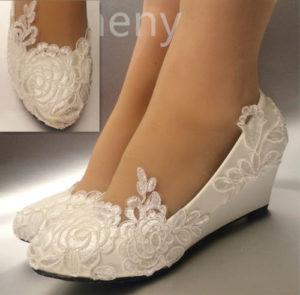 White light ivory lace Wedding shoes