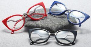 Women Cat Eye Reading Clear Lens Optical Eyeglasses Vintage Plain - blue, black and red