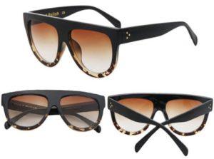 Women Inspired Flat Top Shield Tortoise Sunglasses KIM K Celebrity Eyewear front view