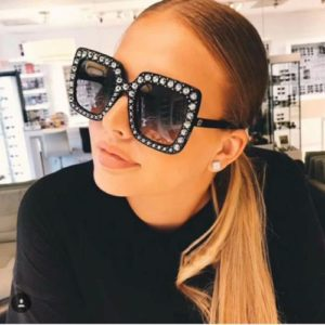Women Oversized Square Sparkling Sunglasses Thick Frame Cat Eye Glasses 1