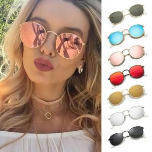 Women Retro Fashion Aviator Mirrored Round Lens Oversized Sunglasses 1