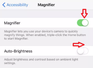 magnifier and auto brightness