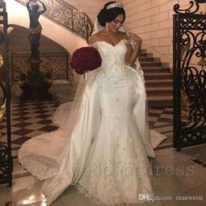 Arabic Lace Mermaid Wedding Dress Detachable Train Off Shoulder