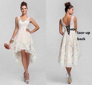 Hi-Lo Lace Short Wedding Dresses Bridal Gown