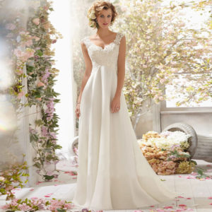 Hot A Line Wedding Dresses Chiffon Lace See through Backless Custom Made Robe