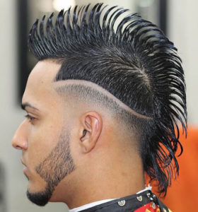 Mohawk Hairstyle with Line In Hair