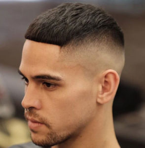 Short Skin Fade Haircut with Solid Fringe