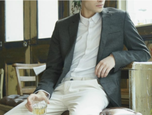 black blazer with white jeans trousers and shirt