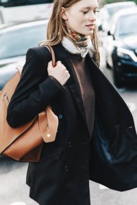 blazer with jeans and a silk scarf necklace - Ladies fashion