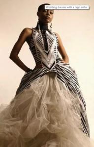 classic high collar wedding gown