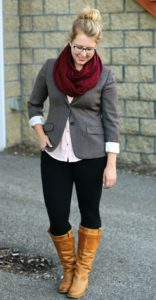 dark ash blazer with leggings jeans and boot shoe and dark red neck scarf