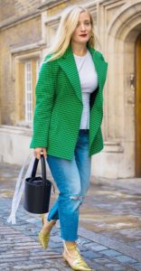 green blazer with blue jeans - nice for office works
