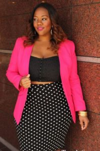 pink blazer with spotted skirt - nice fashion