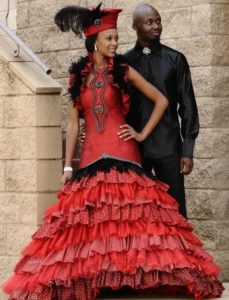 royal coloured wedding gown with embroidery