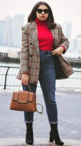 striped blazer with blue jeans and a boot shoe - ladies fashion