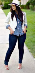white blazer with blue demin shirt and blue jeans trousers