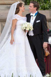 wide neckline short sleeve wedding gown