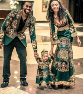 ankara print style for young family of 3