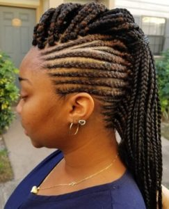 black-brown styled mohawk braid hairstyle