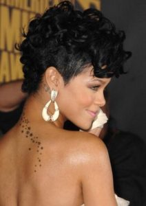 short curly rihanna mohawk hairstyle