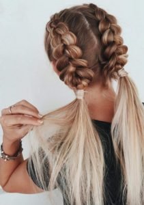 slay queens cute two tone ponytail braids hairstyle with twist