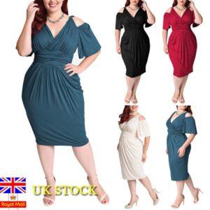 Plus Size Women Plunge Cold Shoulder Bodycon Dress Evening Party Cocktail Dress