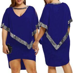 Plus Size Women's High-Low Hem Sequined Capelet Midi Cocktail Party Dress XL-5XL