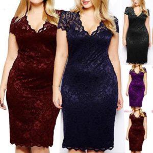 UK Womens Ladies Bodycon Midi Lace Pencil Cocktail Party Evening Dress Plus Size
