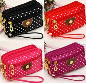 Ladies Cloth Zipper Wallet Purse