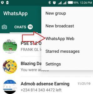 tap on whatsapp web