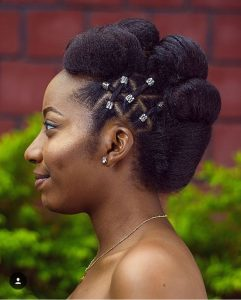african brides natural hairstyle with side braids - melissaerial