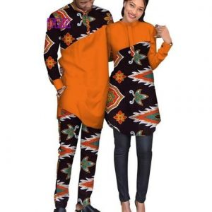 african couple ankara plain and pattern print senator suit style - afrispiration