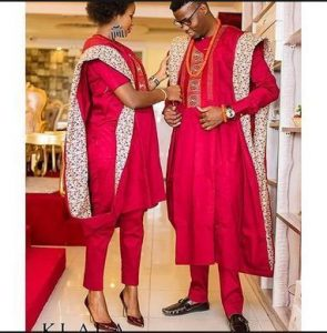 african couples red ankara style - momoafrica