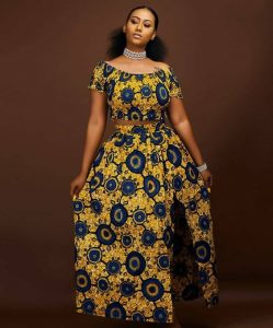 african fabric crop top with long split skirt for young ladies - mammypi