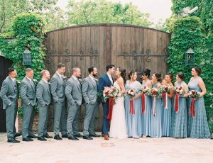 all facing bride and groom colour of the day was red and dusty blue - inspiredbythis