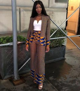 amazing kente suit with palazzo trousers for ladies - mammypi